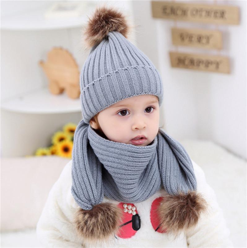 Inverno malha Gorros + Scarf 2pcs conjuntos infante recém-nascido Baby Kids Ribbed malha Tuque Hat Crânio Caps com Big Pom Fur bola Crochet Chapéus LY1013