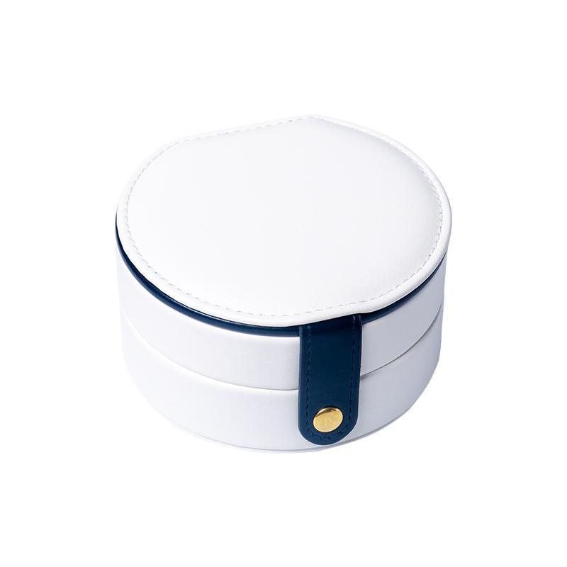 TA Mingren Hot Vente ovale avec un miroir de maquillage Boîte de rangement Femmes Coffret Cadeau Pu Bijoux Voyage en cuir Organisateur Couleur Blanc
