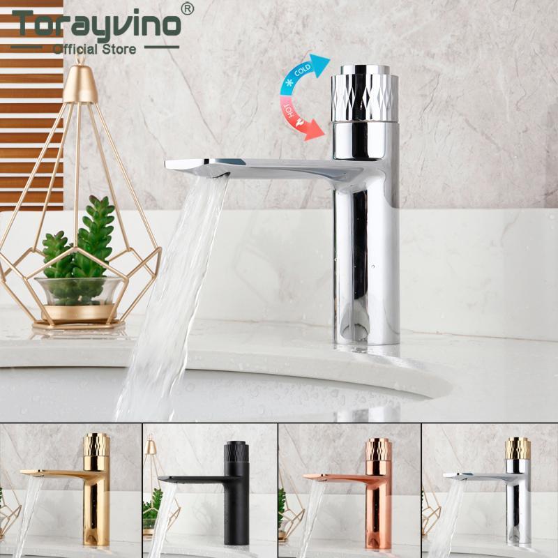 Torayvino nueva llegada de baño Cromo Cubierta grifo de la cascada de lavado Baisn fregadero montado en grifos de agua caliente y fría bajo presión