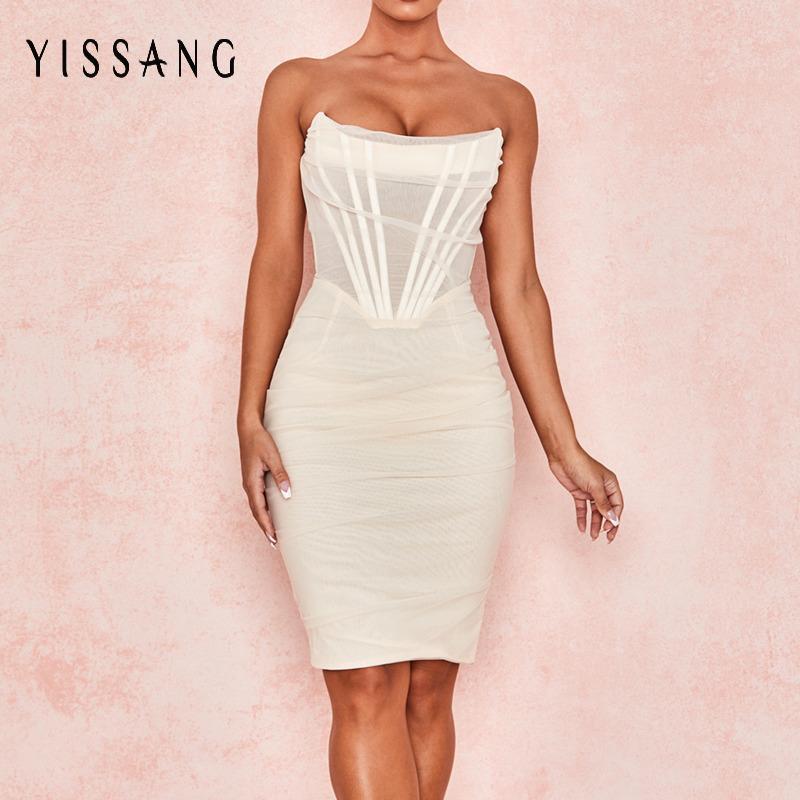클럽 파티 드레스 여름 우아한 Bodycon sundress에 줄 지어 Yissang 화이트 끈이 섹시한 붕대 메쉬 미디 드레스 여성 오프 숄더