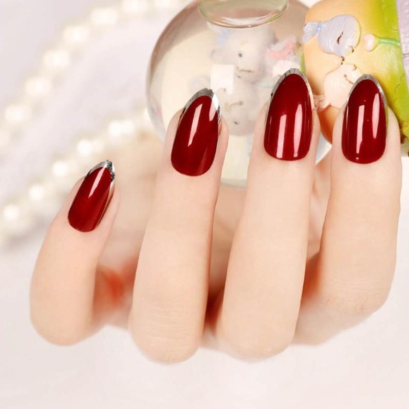 Haute professionnel 24 pièces / Set service couleur artificielle Conseils Faux ongles Faux Pointu Stiletto Nails PARFAITEMENT Dropshipping