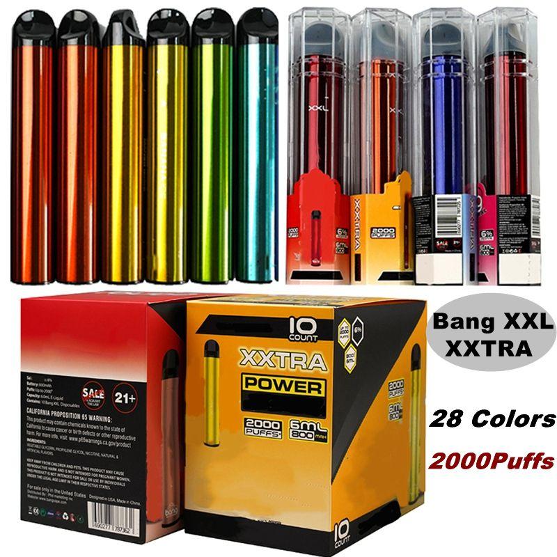 Bang XXL xxtra 2000Puffs 일회용 vape 펜 전자 담배 스타터 키트 카트리지 28 색상 vapes 800mAh 배터리 기화기 미리 채워진 비어 있음