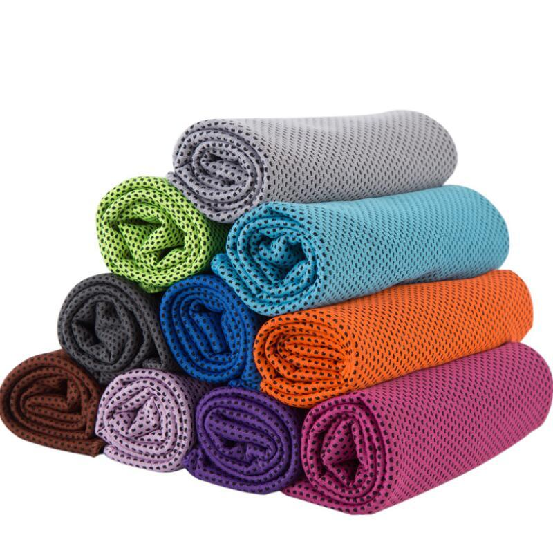 Ice toalha fria de refrigeração Verão Insolação Sports Exercise Arrefecer Quick Dry macia respirável de refrigeração 10colors Toalha DHE1984