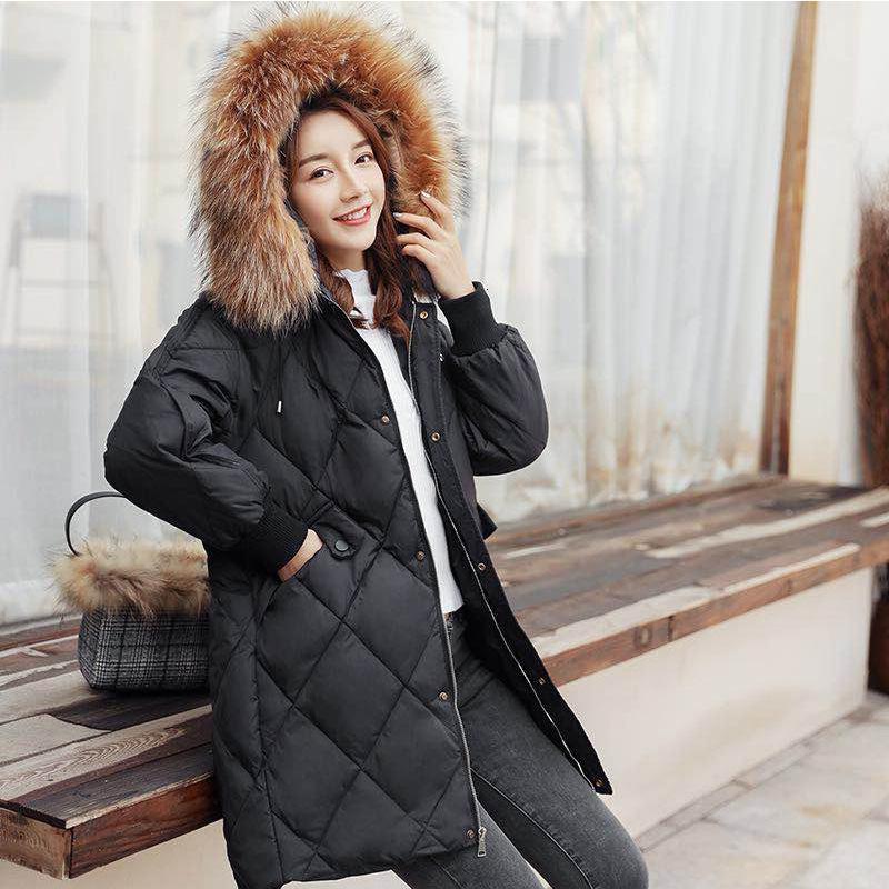 Abrigo mujer invierno grueso cálido pato gran mapache ropas de piel de mapache 2020 cabiz coreano chaqueta abajo de las mujeres HIVE LW1579