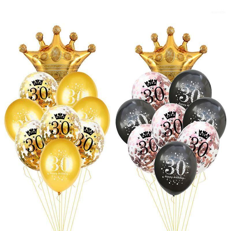 30 40 50 60 Jahre Geburtstag Ballon 30. Geburtstag Party Dekorationen Baloon Nummer 50. Erwachsener Gold Black Party Supplies1