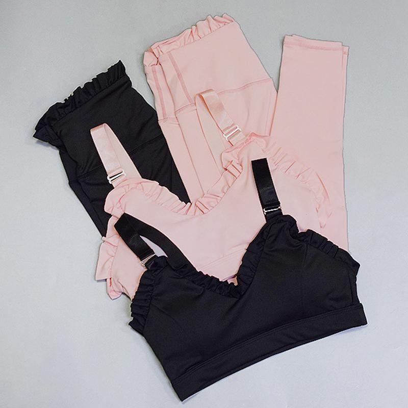 2 piece set Donne Set Yoga solido allenamento Sport imbottito Reggiseno vita alta Sports Leggings vestito di sport Abbigliamento Donna di ginnastica