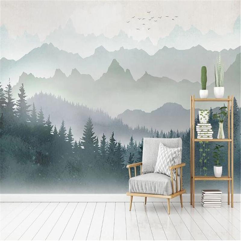 Bacal professionale personalizzato grande 3D carta da parati murale moderna e minimalista acquerello geometrica picco di montagna home decor foresta TV