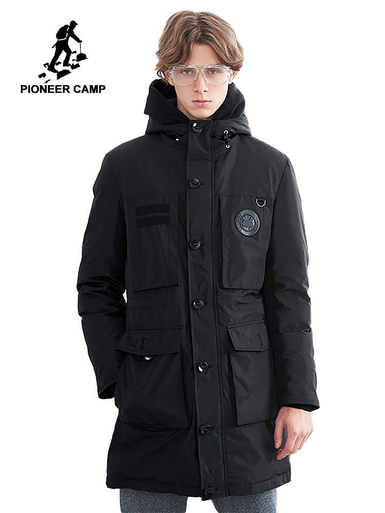 Pioneer Kampı Sıcak Uzun Aşağı Ceket Erkekler Marka Giyim Kış Süper Beyaz Aşağı Ceket Erkek En Kaliteli Çok Cepler AyR801434
