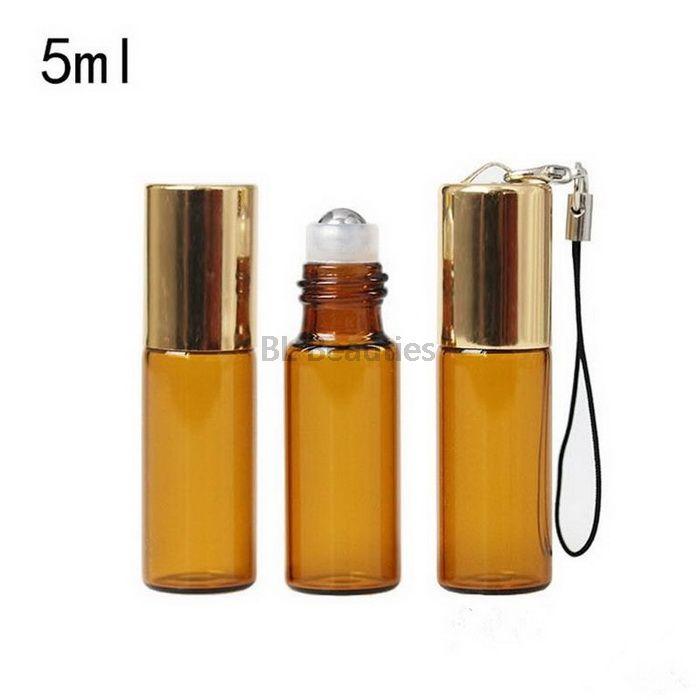 5 мл янтарного рулона на бутылках для эфирных масел Roll-on на бензинге. Футтерновые контейнеры для бутылок с золотой серебряной крышкой