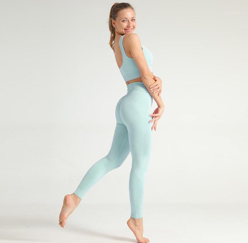 Yoga Outfits Seamless Set Women Crop Top Sport Bra Gym Leggings High Waist Fitness Workout Clothes Tracksuit Beautiful Fashion Pants1