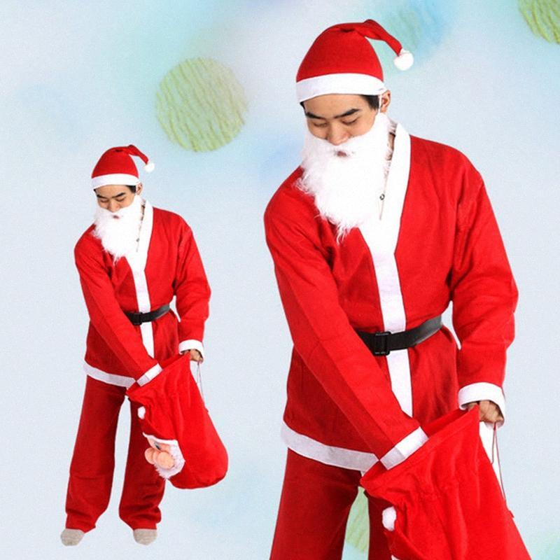 1set Yetişkin Noel Kostüm Noel Baba Kostüm Unisex Noel Giyim Dekorasyon Hediyelik Cosplay Parti DAPİ # Malzemeleri