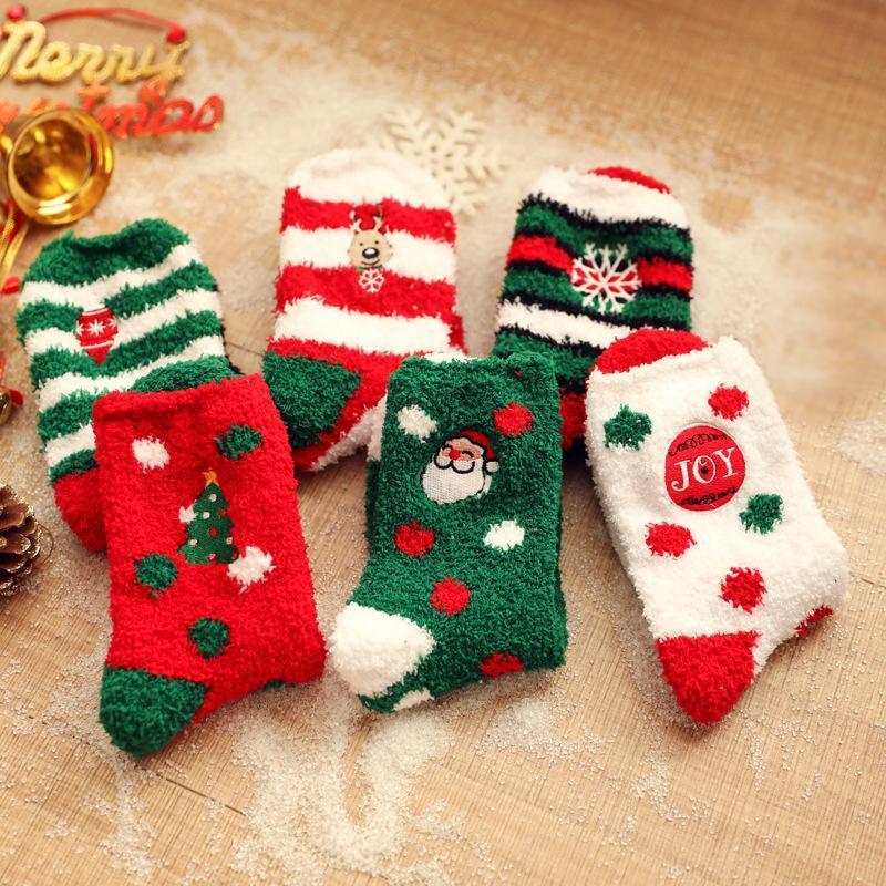 Noël mignon épais Socks Père Noël rayé coton molleton Femmes Hommes étudiants adultes hiver chaud Fluffy chaussettes cadeaux de Noël