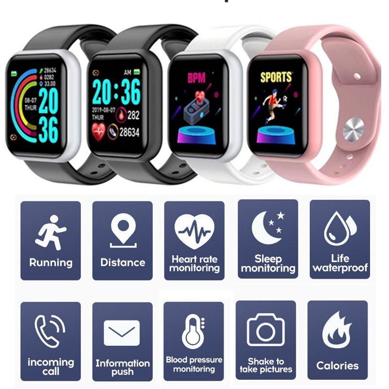 D20 Akıllı Bilezik Bilek Bandı 150 mAh Spor Izci Bluetooth Spor İzle 1.3 inç Ekran Su Geçirmez Monitör Bileklik Ile