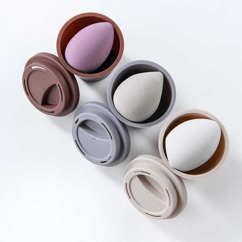 ماكياج الإسفنج حامل كبير العفن واقية المحمولة نظيفة البسيطة فنجان القهوة تخزين مربع لمستحضرات التجميل حالة الإسفنج