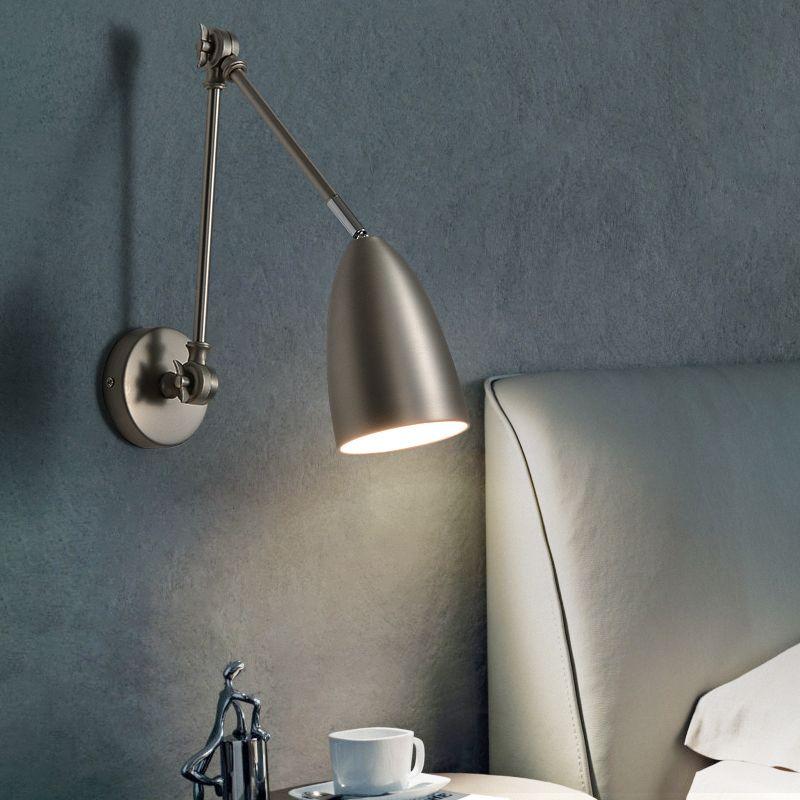 Yatak odası Kol Duvar Işık Çalışması Okuma Lambası Basit Duvar Lambaları açtı Duvar Lambası Başucu Lihgt Nordic ile Külbütör Çekilebilir Katlama Kong açtı