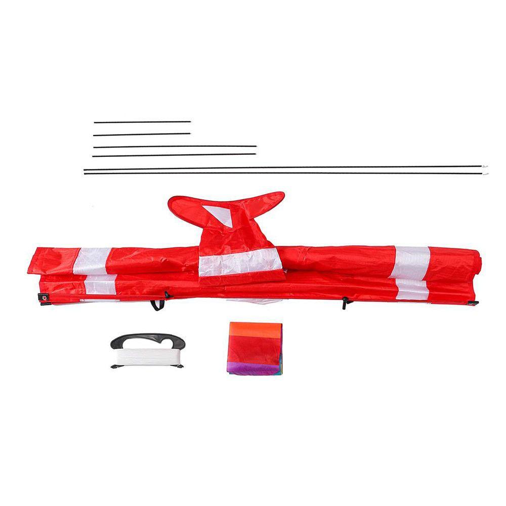 Linha 3D Red Branco Kites Outdoor Fun Sports Praia Kite com cauda vermelha NOVO 1018