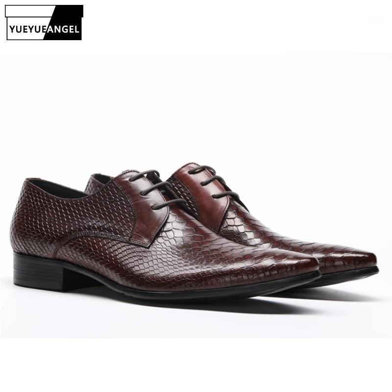 Männer Wohnungen Echtes Leder Schuhe Business Schlangenmuster Schwarz Lace Up Kleid Schuh Männer Bräutigam Hochzeit Schuhe Derby1