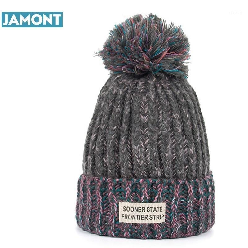 Jamont donna moda inverno cappelli per maglieria con pompon berretti Cap1