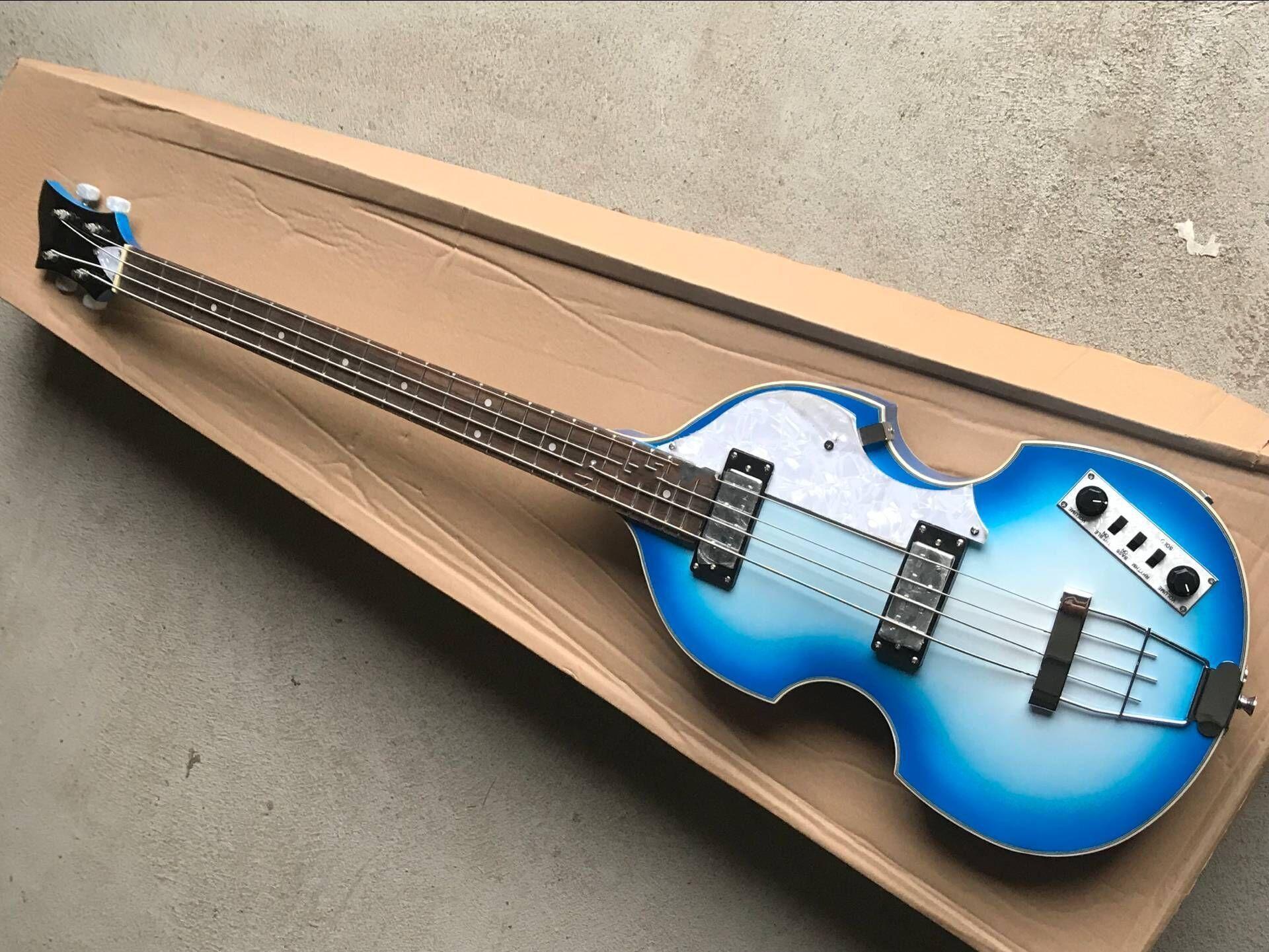 Bleu Haute Qualité 4 cordes Basse de violon Guitare de basse électrique, corps en acajou avec flamme supérieure d'érable, matériel chromé, livraison gratuite