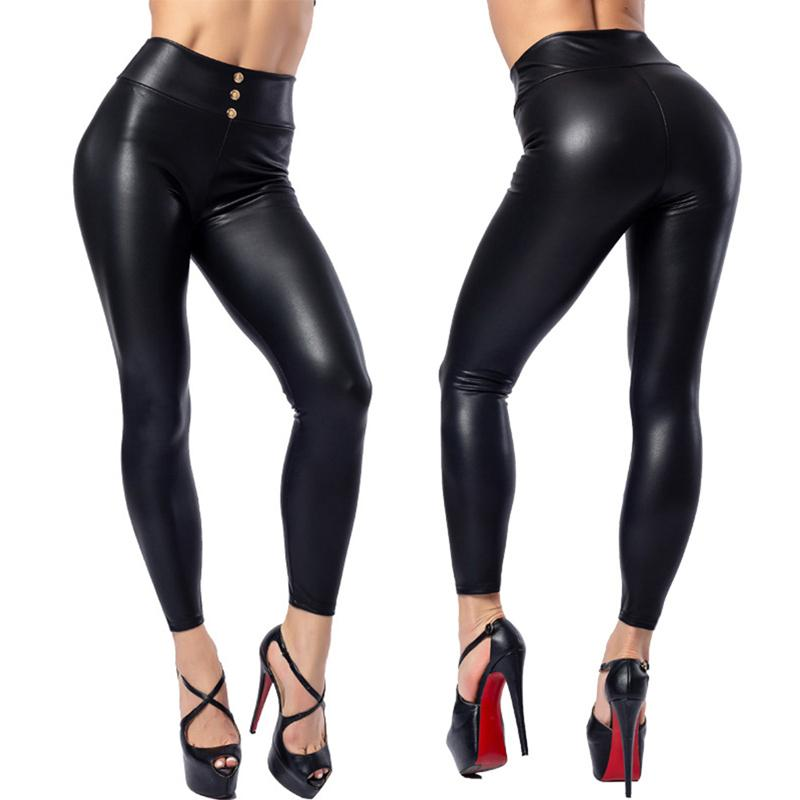 Fashion Women Solid Bla High-waist Elastic Pencil Pants Sexy Tight PU Coating Imitate Leather Trousers Plus Size 5XL
