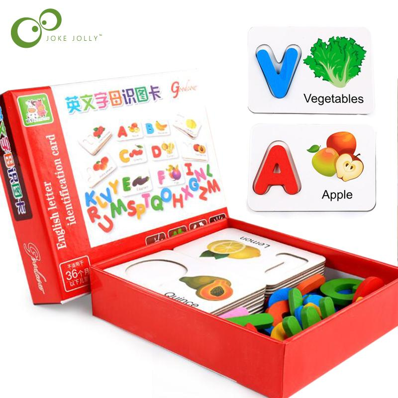 Holz Early Education Baby Learning ABC Alphabet Briefkarten Kognitive Lernspielzeug für Kinder Obst Gemüse Puzzle GYH 200930