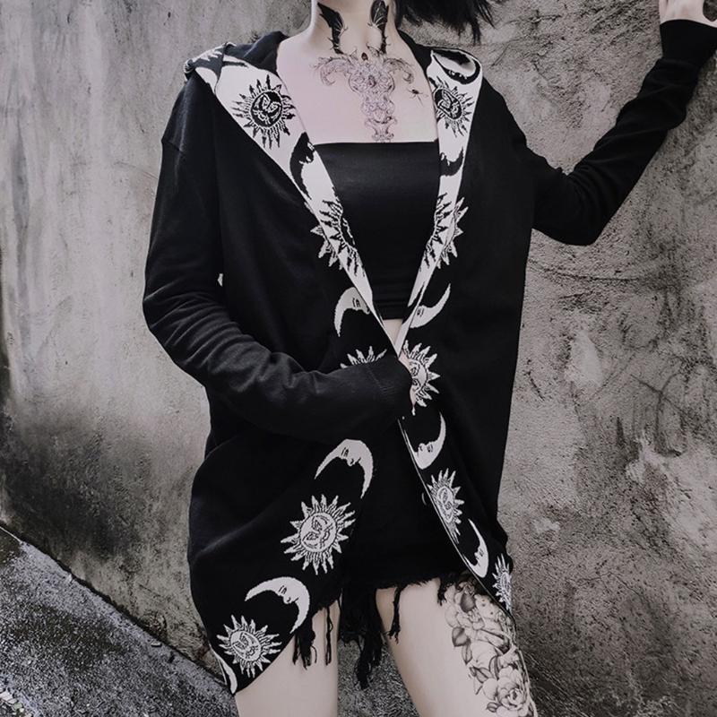 Женские куртки женские мода готический панк мультфильм звездный лунный капюшон девушки женская куртка пальто кардиганы хеллоуин костюм плюс размер