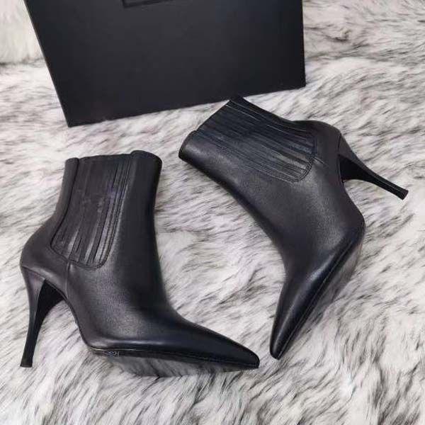 2021-nuove donne Tacchi alti stivali inverno breve sottolineato Vera Pelle Pompe Parigi Stivali Size 34-41 con la scatola