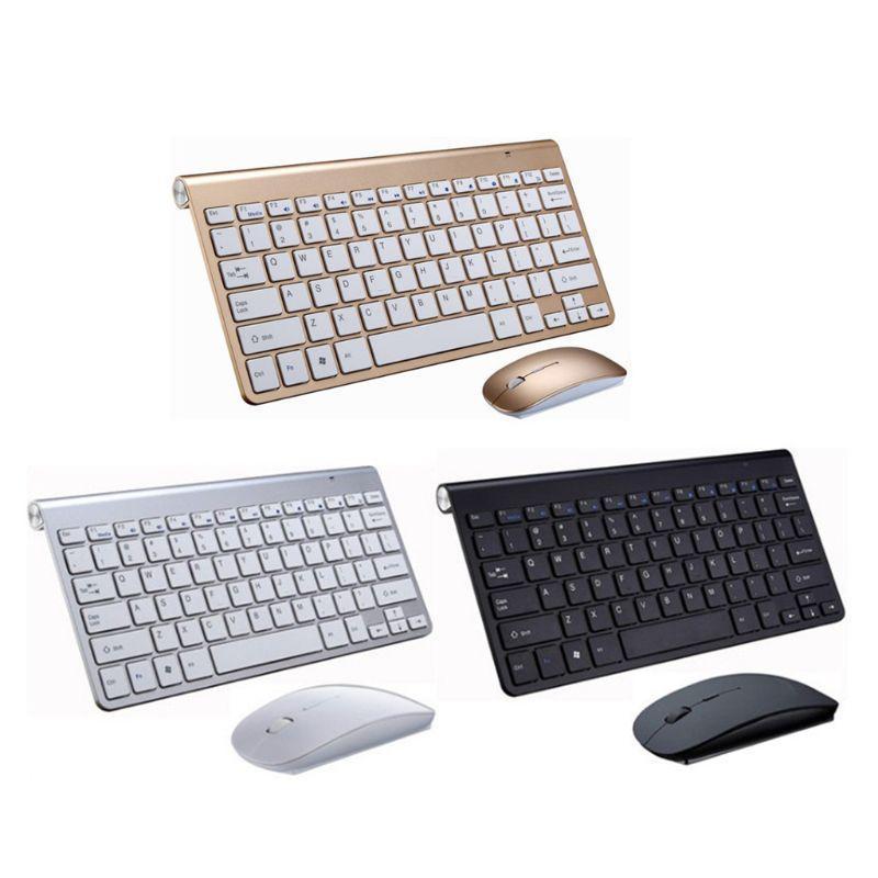 Fino e leve 2,4 g impermeável sem fio silencioso teclado e mouse Combo Set para PC Computer Smart TV