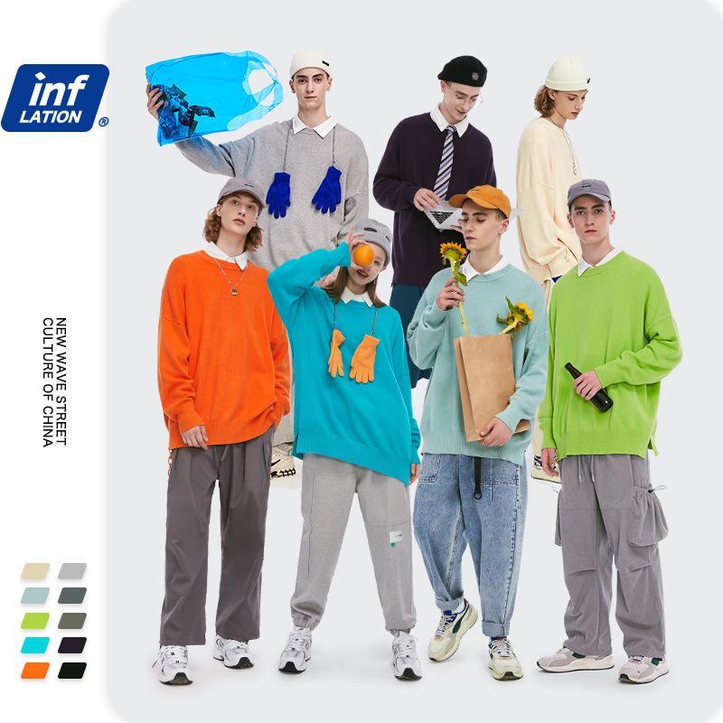 Inf Usura da uomo Nuova caduta 2020 T-shirt da fondo a colori solido con T-shirt