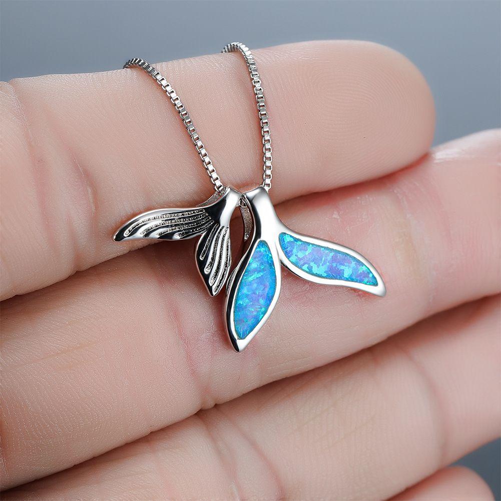Heißen verkaufende Schön Sea Life Collection 925 Sterling Silber Blue Opal Whale Tail Anhänger Halskette für Frauen-Geschenk