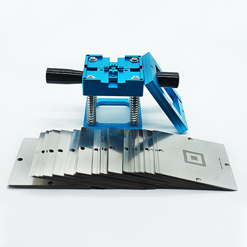 BGA fixtures 90x90 Reballing Station 184pcs 90MM BGA stencils + Reballing jig 90MM blue with handle for Laptop Gameconsole