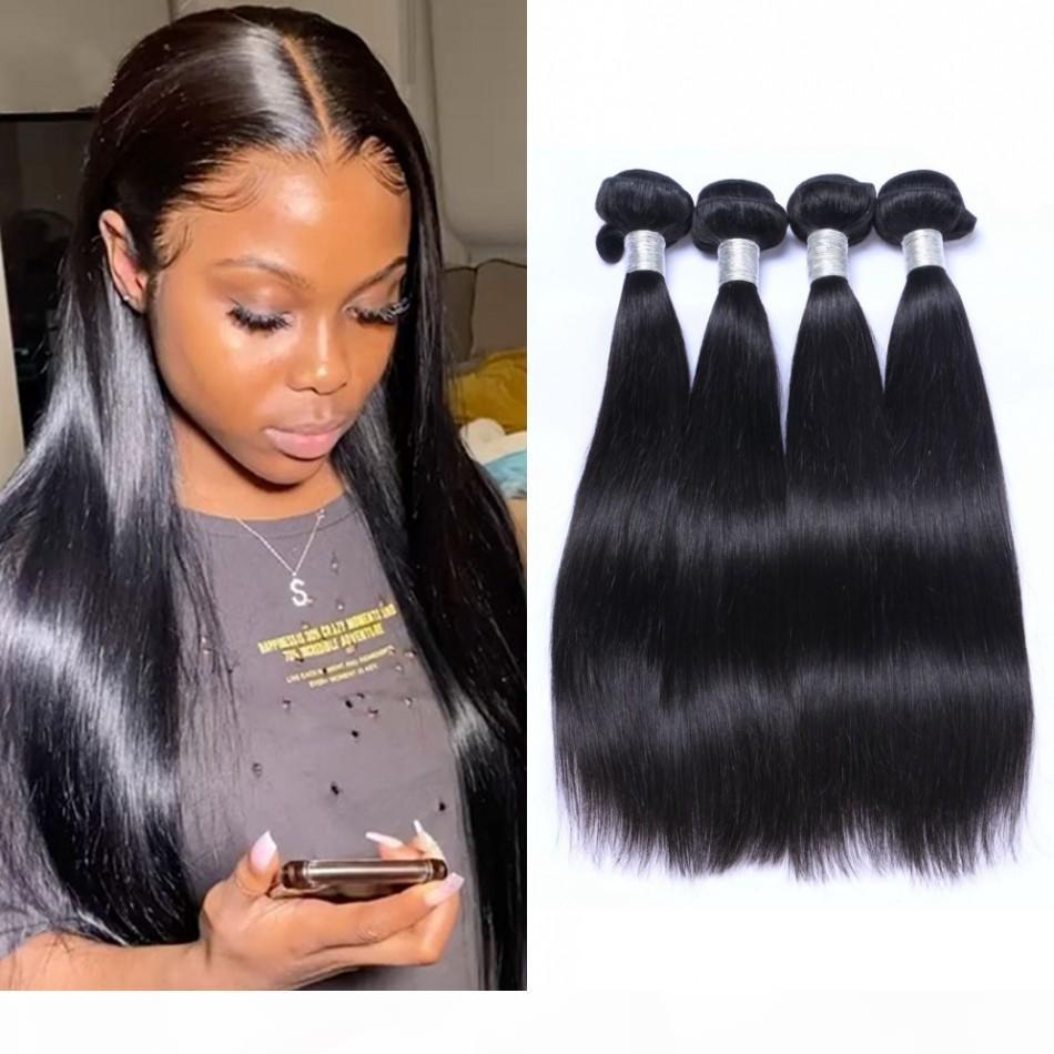 Paquetes de tejido para el cabello brasileño Extensión recta del cabello humano 4pcs Color natural Bundles de cabello sin procesar 8-26 pulgadas