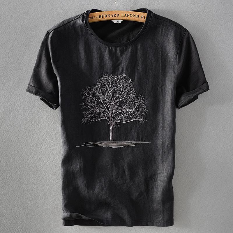 Suéteres para hombres 2021 Llegada Black T Shirt Hombres Summer Lino Tshirt Macho Cuello redondo Bordado Lino Camiseta de manga corta para hombre Casual Camisa