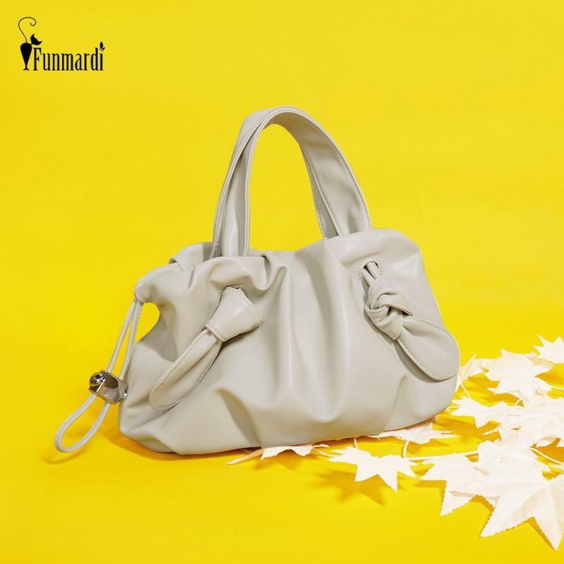 Funmardi moda wlhb2094 ombro mulheres feminino sacos de couro macio plissado crossbody cordão handbags designer balde saco saco pu xpixa