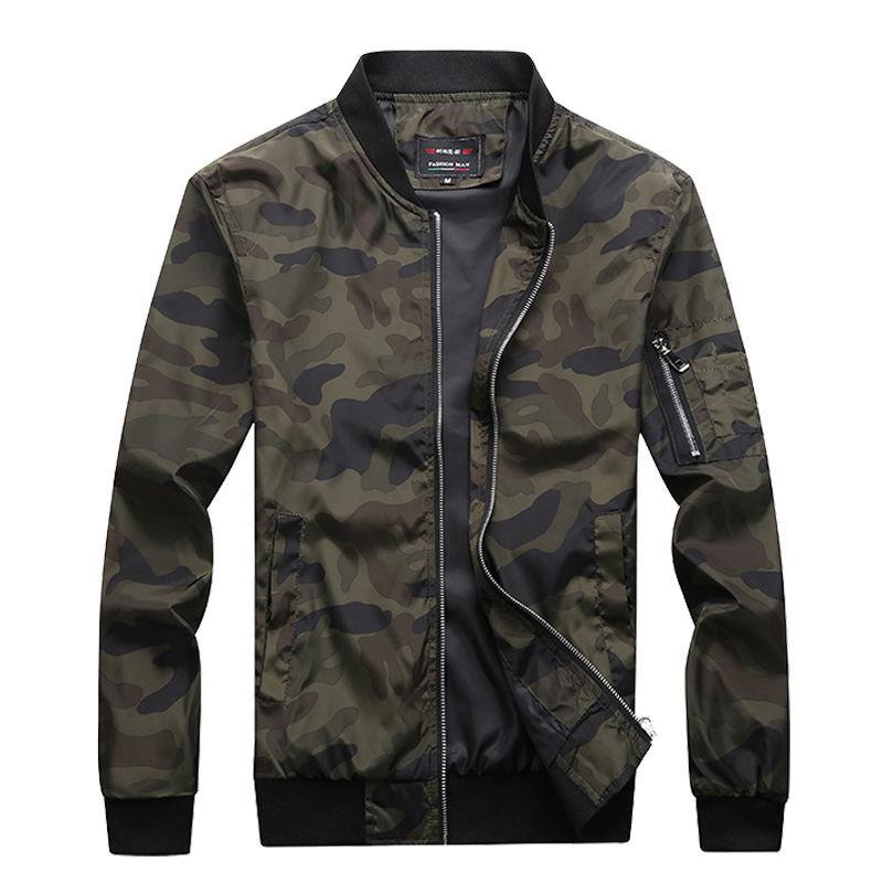 2020 NUEVOS Jackets de camuflaje de los hombres de otoño Abrigos masculinos Camo Bomber Jacket Mens Marca Ropa Outwear Plus Tamaño