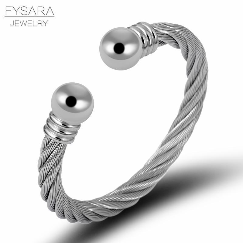 Bracciali Fysara rotondo dell'oro fascino Twist Linea sfera in acciaio inossidabile Filo dei braccialetti del polsino dei braccialetti per gli uomini pesanti gioielli bbyZrc mj_fashion
