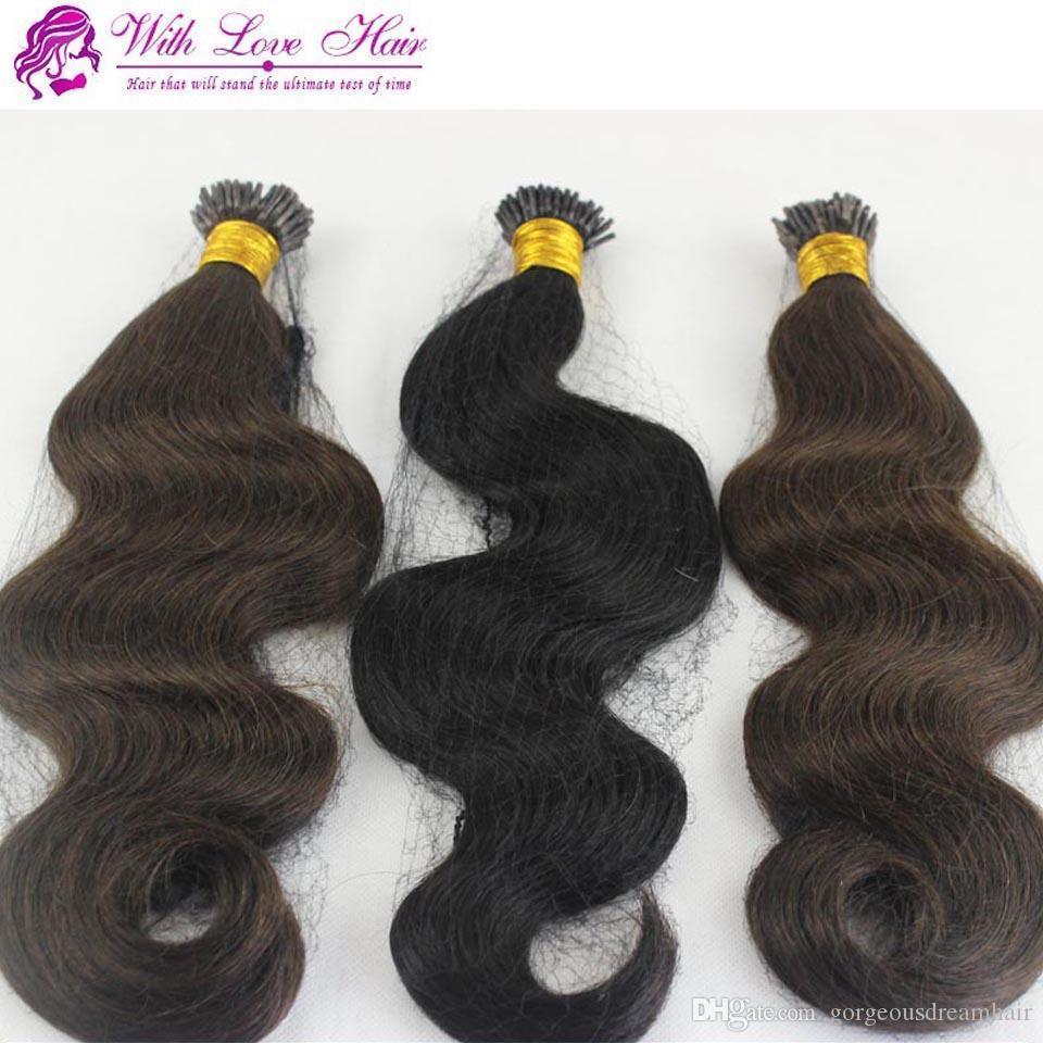 1 pacotes pacote 8-30 '' dupla desenhada keratin fusion stick ponta i-link extensões de cabelo onda do corpo indiano remy reto eu forma i-tip