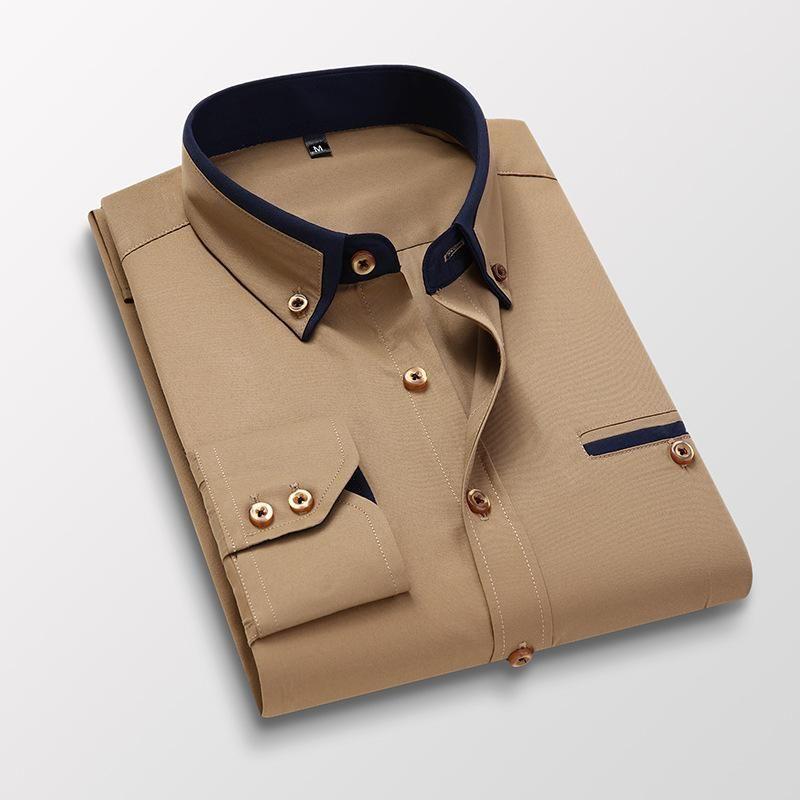 الرجال قميص طويل الأكمام يتأهل قمصان لا كي الملابس 2021 ربيع الخريف الأعمال اللباس الاجتماعي زر عارضة زر أسفل ماركة الملابس