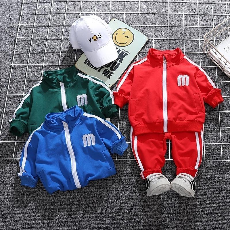 Детская куртка брюки костюм осень и зима мода детская одежда костюм хлопок материал мальчиков повседневная 2 частей набор 201126