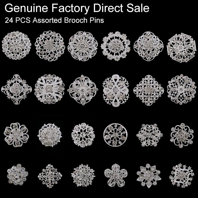 baiduqiandu Wholesale Crystal Rhinestones Flower Brooches for Wedding Invitation / Cake Decoration / DIY Bouquet Kits 201009