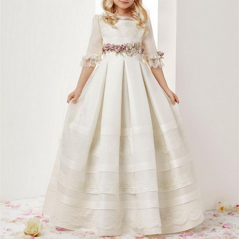New Lovely Flower Girl Dresses For Weddings Short Sleeves Lace Applqieus Pearl Tulle Long Girls Pageant Dress Prom Kids Communion Gowns
