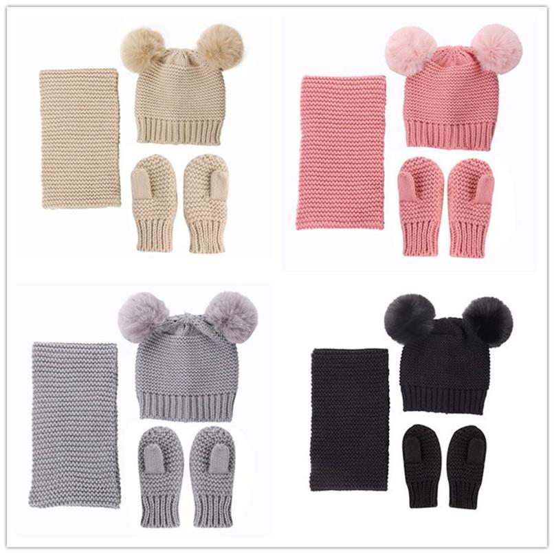 Newborn Babys Winter Hats+ Scarf +Gloves Set Solid Crochet Beanie Caps 2 Fur Pom Kids Beanies Mitten 0-3 Years Headwear Costumes LY10301