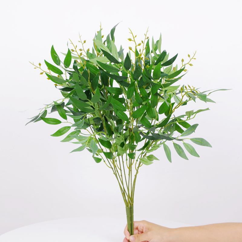 Ramo de sauce artificial 5 sucursales de horquilla de hojas falsas de seda para la decoración del hogar Planta de la jungla arreglo de la fiesta de la boda Faux DIY