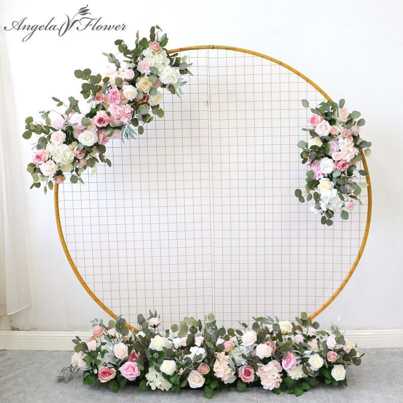 العرف الوردي الاصطناعي الزهور ديكور ل حفل زفاف جولة القوس الحديد الإطار الزهور الصف ترتيب الحدث الحزب في الهواء الطلق تخطيط الأزهار 1