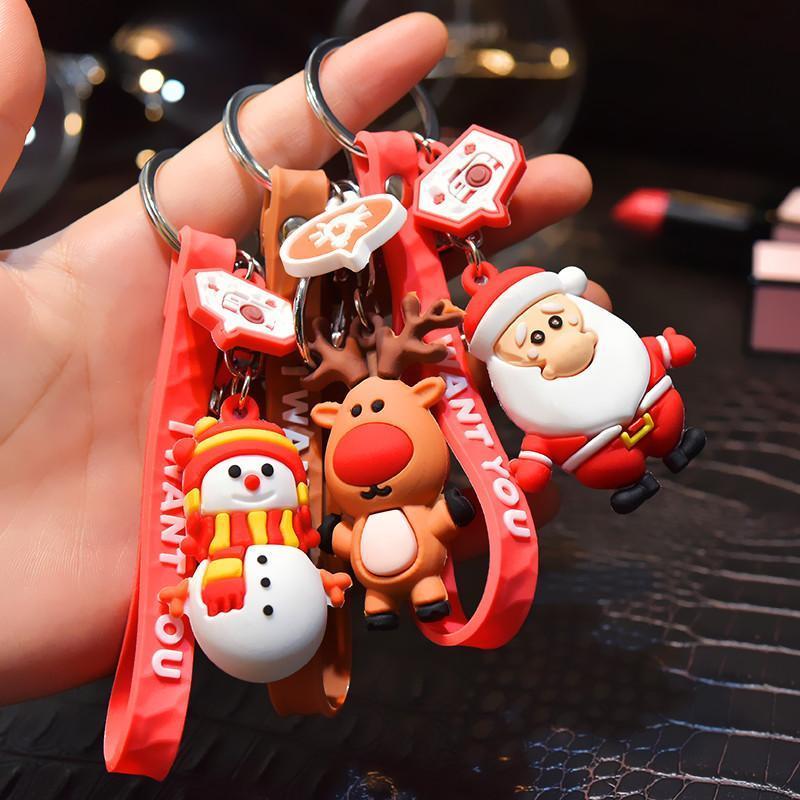 1шт Рождество аксессуары Санта-Клаус / Elk брелок С Рождеством украшения для дома Новый год 2021 Xmas Gift Noel Navidad 2020