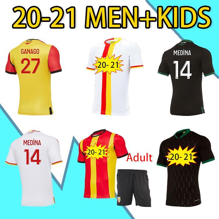 Novo 20 21 RC Lente Futebol Jerseys Maillot De Pé Fofana Ganago Kakuta Kit Especial Casa Away Terceiro Quarto Quarto Men Kit Kit Camisa de Futebol