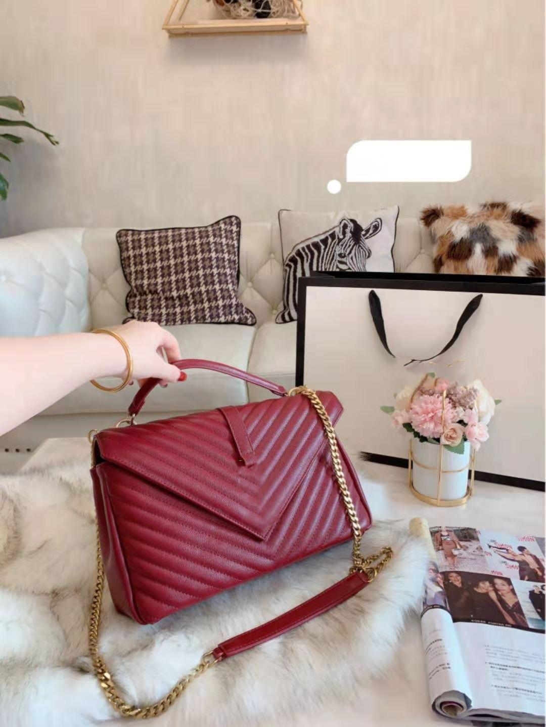 Klasik Hakiki Deri Omuzlu Çanta Çanta Messenger Zincir Eğimli Omuz Çantaları Lady Tek Taşınabilir Moda Çanta Ling Kadın Çanta