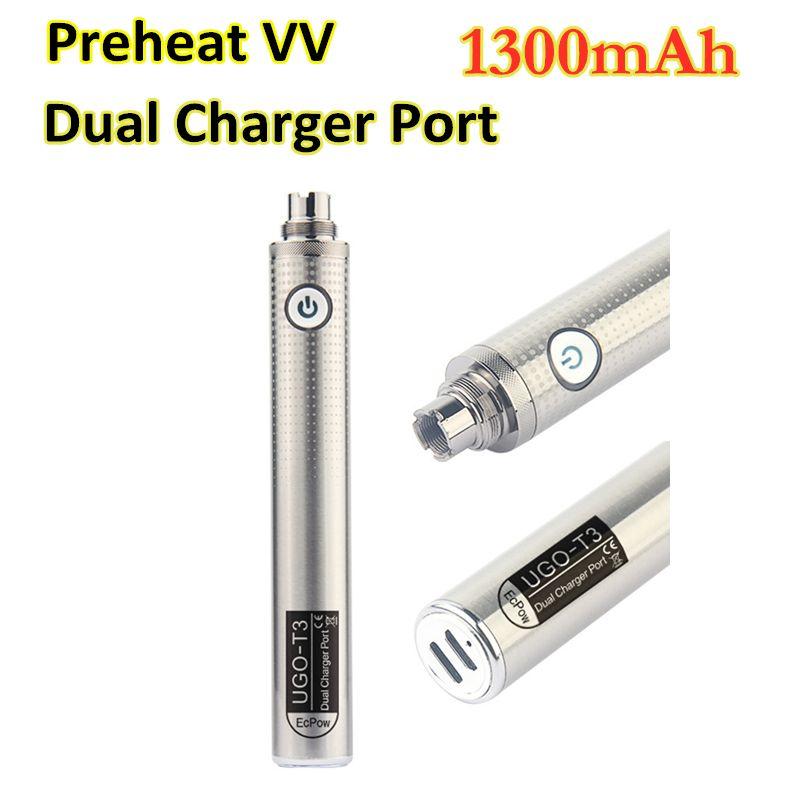 MOQ 2Pcs UGO T3 Vape Battery Dual USB Charger Port 1300mAh 510 Thread Preheat Vaporizer E Cigarettes Pen VV Batteries for Atomizers Cartridges