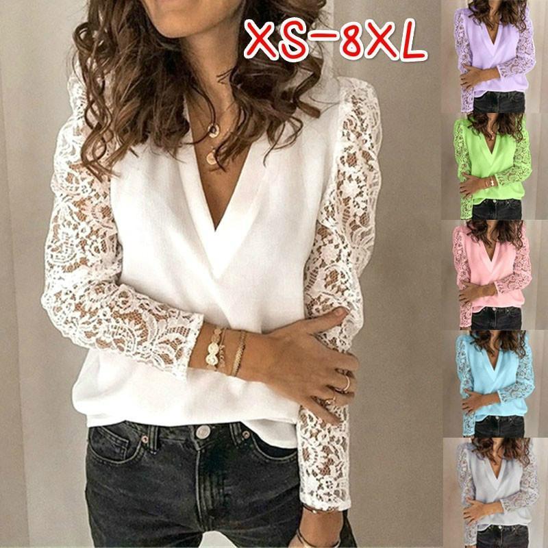 Женские блузки Мода цветочные кружева Блузы 2020 Повседневный длинным рукавом выдалбливают Рубашки женские осень зима шифоновые топы