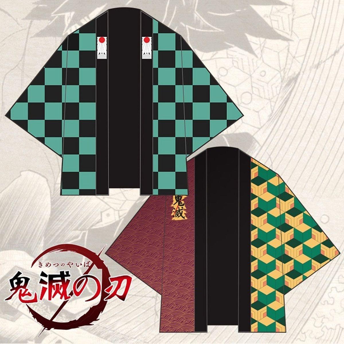 Cadılar Bayramı Anime Kamado Tanjirou Tomioka Giyuu Cosplay Kostüm Demon Slayer Suit Haori Cape Parti Kimono Cloak